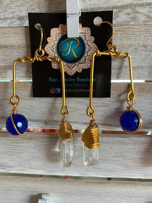 IG Small Gold Rectangle (Blue, Clear Quartz)