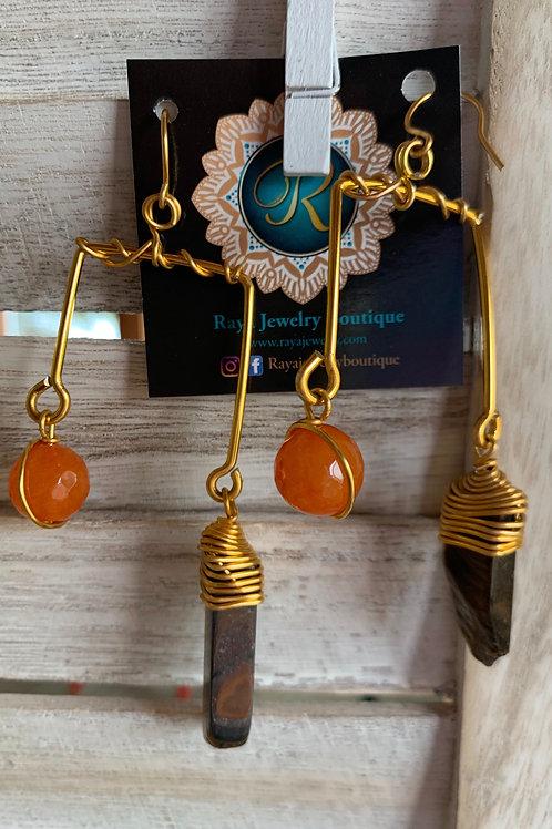 IG Small Gold Rectangle (Orange, Tigers Eye)