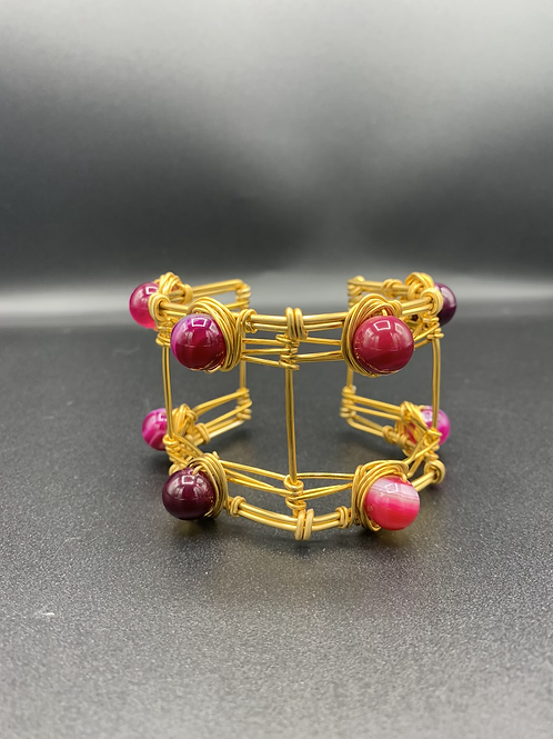 Double Cuffed (Pink agate, Amethyst)