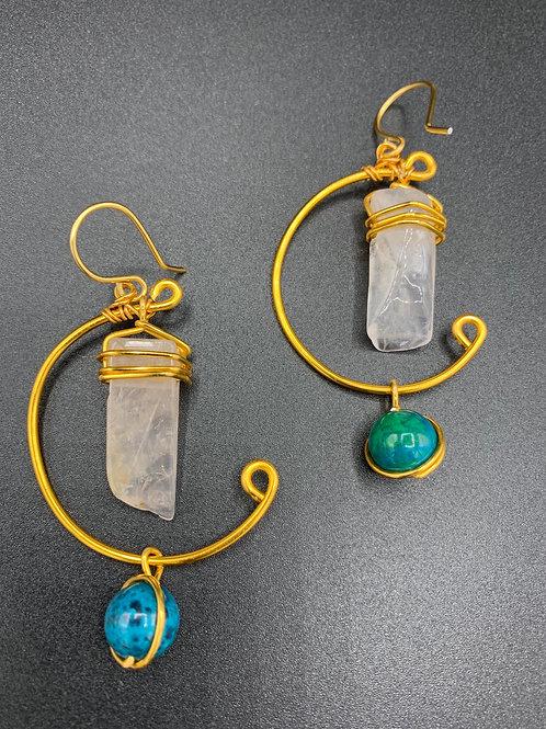 IG Twist Small Hoops (Quartz/Turquoise)