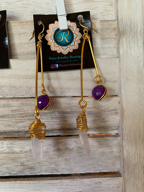 IG Large Gold Triangle (Purple, Clear )