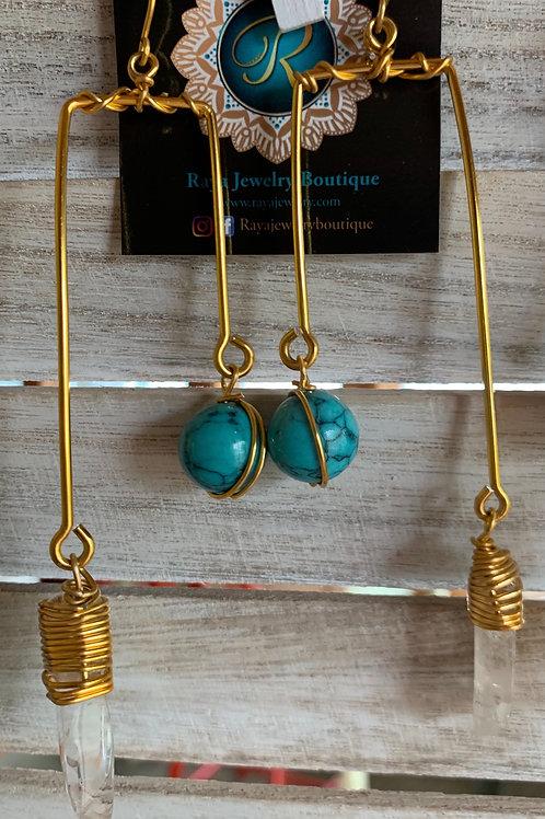 IG Large Gold Rectangle (Turquoise, Clear Quartz )
