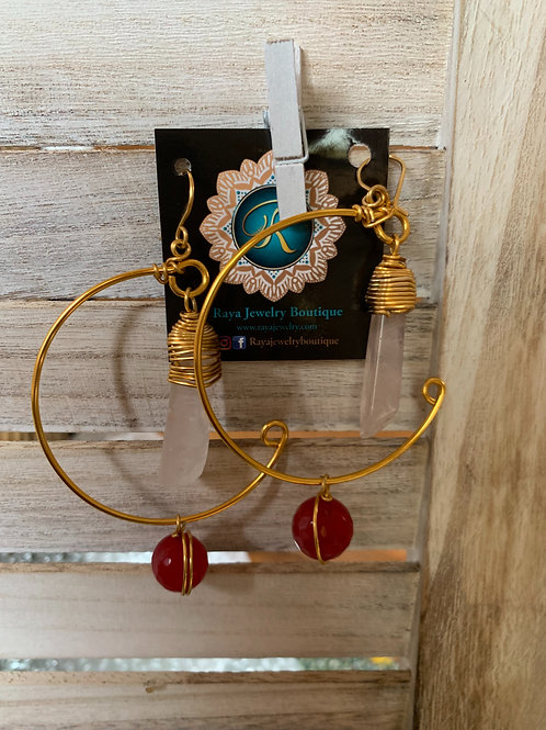 IG Twist Large Gold Hoop (Pink and Red)
