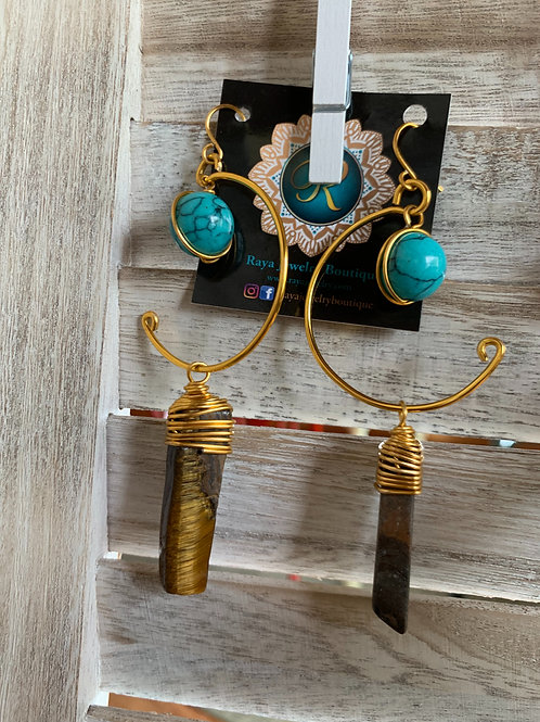 IG Small Gold Hoop (Tigers Eye, Turquoise)