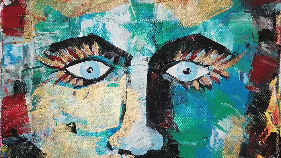 """Acrylbild """"abstract Face"""" 30x40"""