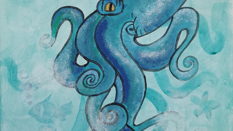 "Acrylbild ""Octopus türkis"" 30x40"