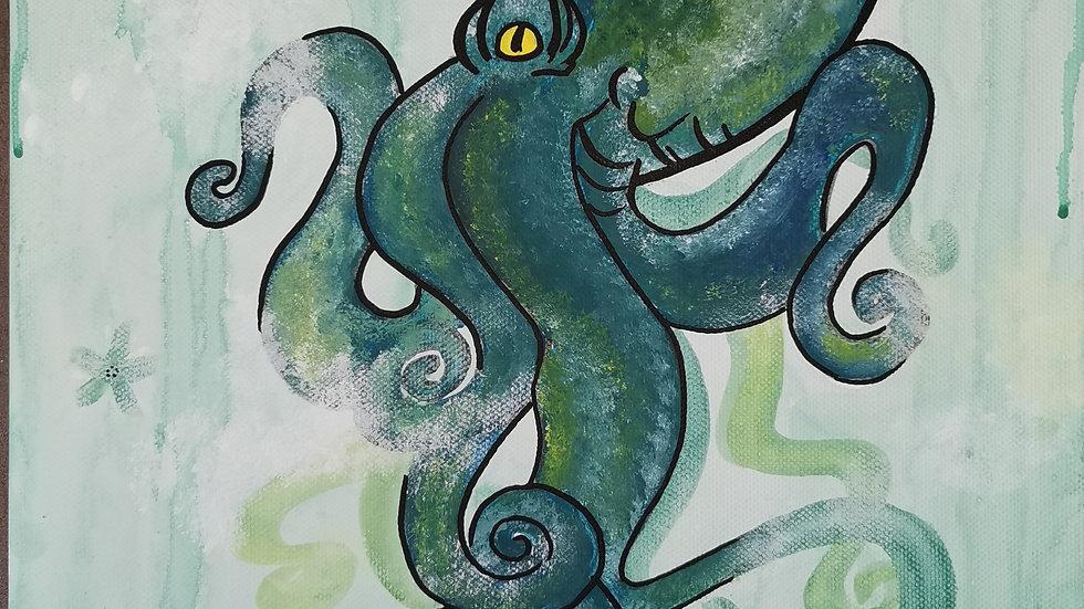 """Acrylbild """"Octopus green"""" 30x40"""