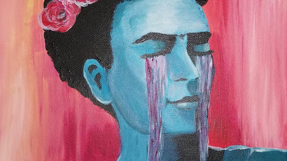 """Acrylbild """"Frida Kahlo red"""" 30x40"""