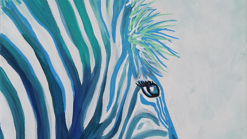 """Acrylbild """"Zebra türkis"""" 30x40"""