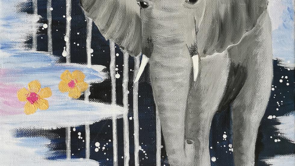 "Acrylbild ""Elefant"" 30x40"
