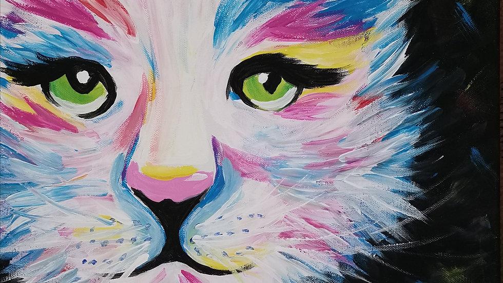 """Acrylbild """"Colourful Cat"""" 30x40"""