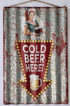 """TIMBER - TIN SIGN, """"COLD BEER HERE"""", CORRUGATED, 40X59CM"""