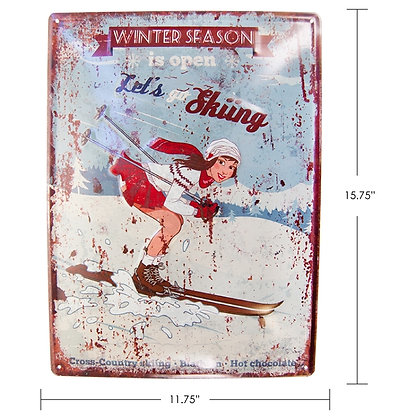 "TIMBER - TIN SIGN ""WINTER SEASON IS OPEN, LET'S GO S"