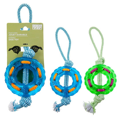 ROPE TOY, WITH TIRE, ASST COLORS