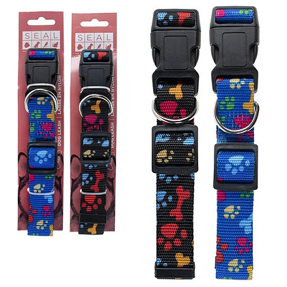 DOG PRINT COLLAR, ASST COLOURS