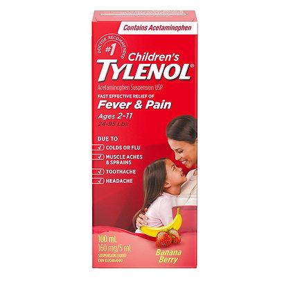 Children's Tylenol Fever & Pain 160mg/5mL Banana Berry 100mL