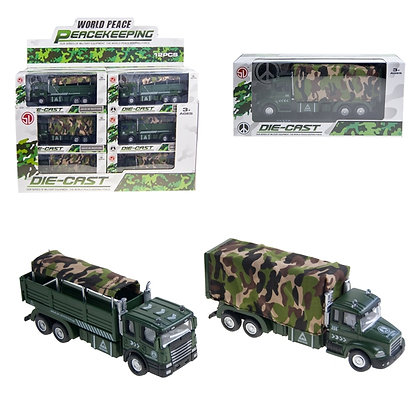 1:60 PULL BACK METAL ARMY TRUCK (12PCS/DISPLAY BOX)