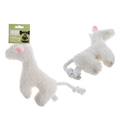 FLEECE LAMB WITH ROPE TAIL, WHITE