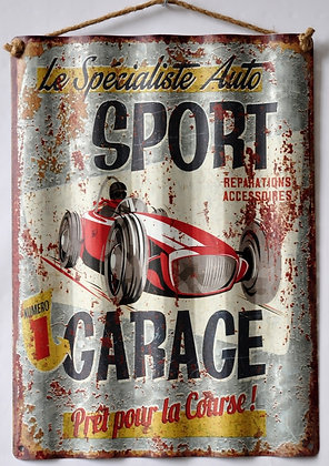 """TIMBER - TIN SIGN, """"SPECIALISTE AUTO"""", CORRUGATED, 30X40CM"""