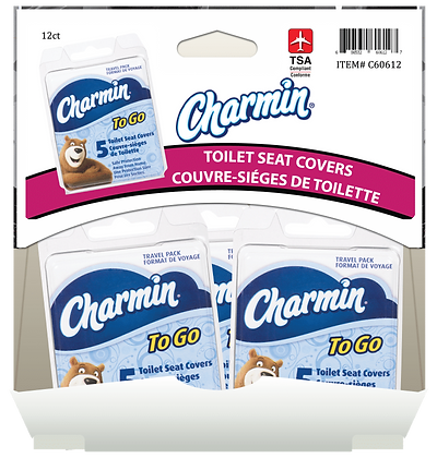 Charmin To Go Toilet Seat Covers 5ea, 12ct Gravity Pack