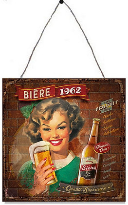 "TIMBER - TIN SIGN, ""BIERE"", 30X30CM"