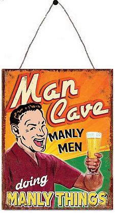 """TIMBER - TIN SIGN, """"MAN CAVE MANLY MEN"""", 25X33CM"""