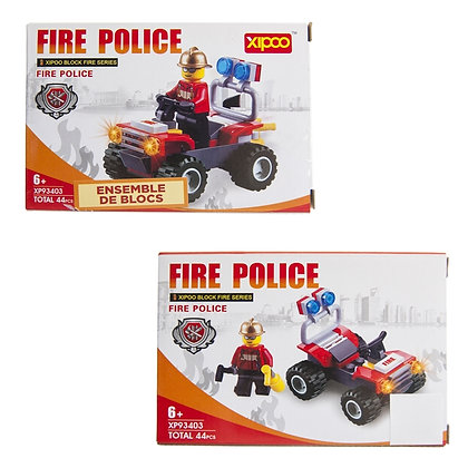 IPLAY - TOY BUILDING BRICKS, 44PCS FIRE POLICE