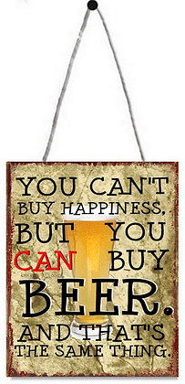 "TIMBER - TIN SIGN, ""YOU CAN'T BUY HAPPINESS"", 20X25CM"