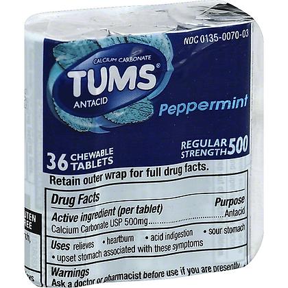 Tums Regular Strength 500mg Antacid Peppermint Tablets 36ct