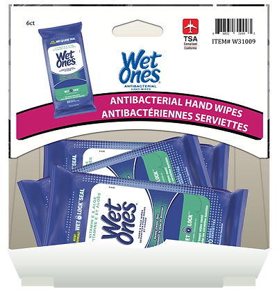 Wet Ones Vitamin E & Aloe Hand & Face Wipes 20's, 6ct Gravity Pack