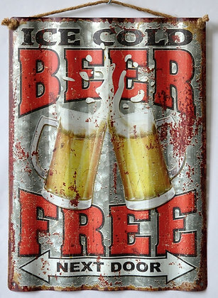 """TIMBER - TIN SIGN, """"ICE COLD BEER FREE"""", CORRUGATED, 30X40CM"""