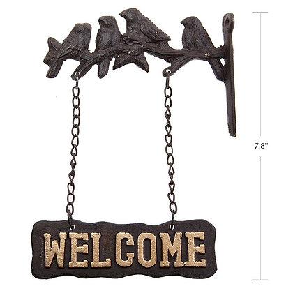 """TIMBER - IRON """"WELCOME"""" SIGN"""