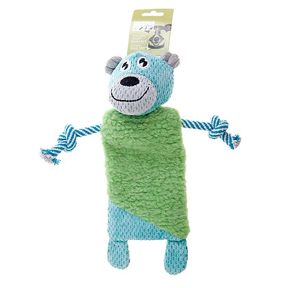 PET CRINKLE PLUSH BEAR WITH ROPE, BLUE