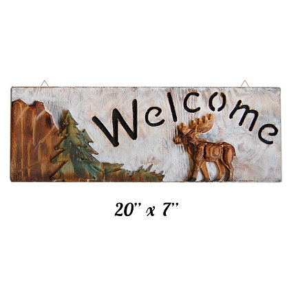 "TIMBER - ""WELCOME"" SIGN, PICTURE OF A DEER"