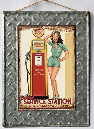 """TIMBER - TIN SIGN, """"SERVICE STATION"""", METAL TEXTURE, 25X33CM"""