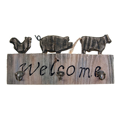 "TIMBER - ""WELCOME"" SIGN WITH 3 HOOKS"