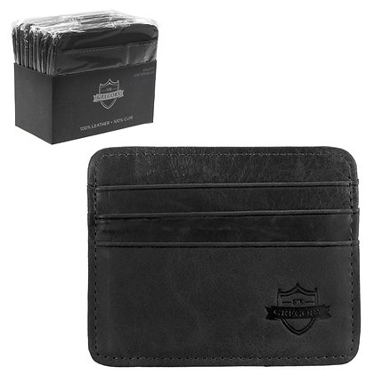 SIR GREGORY - LEATHER CARD HOLDER, BLACK, 10PC DISPLAY
