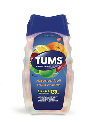 Tums Extra Strength 750mg Antacid Assorted Fruit Tablets  100ct