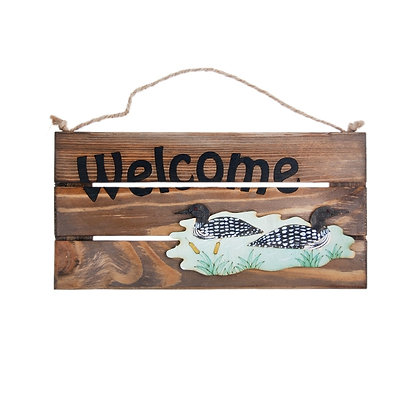 """OLYMPIA CUBS - """"WELCOME"""" SIGN, WITH PICTURE OF A LOON"""