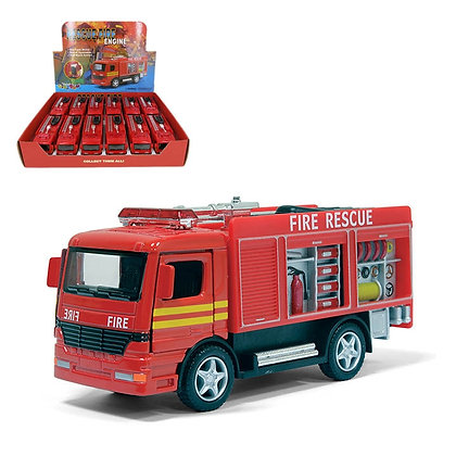 "KINSMART - 5"" RESCUE FIRE ENGINE, PULL BACK, RED, 12 PCS DI"