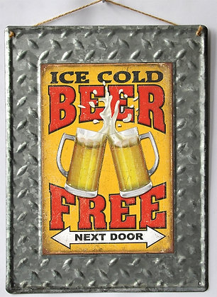 """TIMBER - TIN SIGN, """"ICE COLD BEER FREE"""", 30X40CM"""
