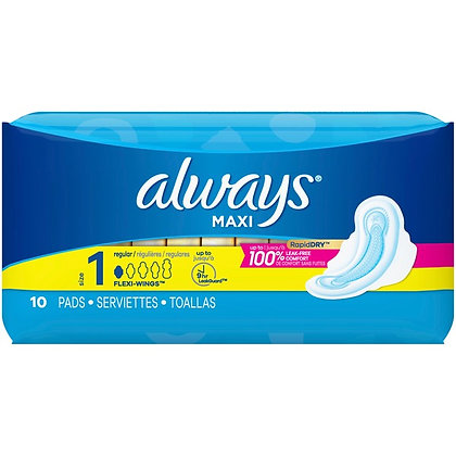 Always Maxi Size 1 Regular with Flexi-Wings Pads 10ct