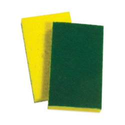 "SPONGE PAD WITH GREEN SCOURING SIDE 6""X4"""