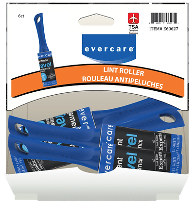 Evercare Travel Lint Roller 30 layer, 6ct Gravity Pack