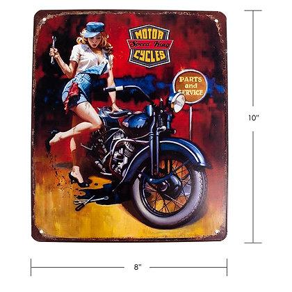 """TIMBER - TIN SIGN, """"MOTORCYCLE FLAME"""""""