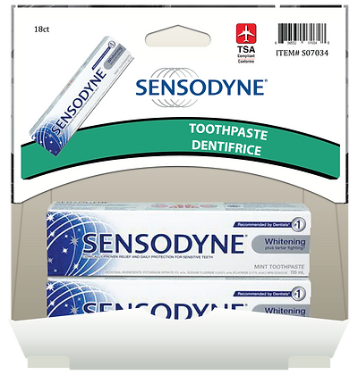 Sensodyne whitening toothpaste 18mL, 18ct Gravity Pack