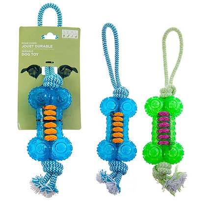 ROPE TOY, IN SHAPE OF BONE, ASST COLORS