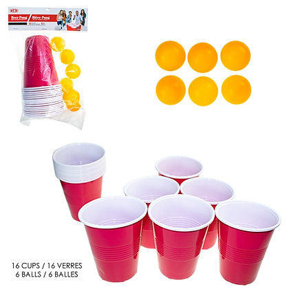 3TP - BEER PONG SET, 16 CUPS WITH 6 BALLS