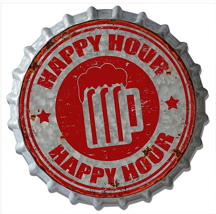 """TIMBER - TIN SIGN, """"HAPPY HOUR"""", 34CM"""