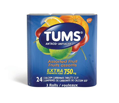 Tums Extra Strength 750mg Antacid Assorted Fruit  Tablets 24ct